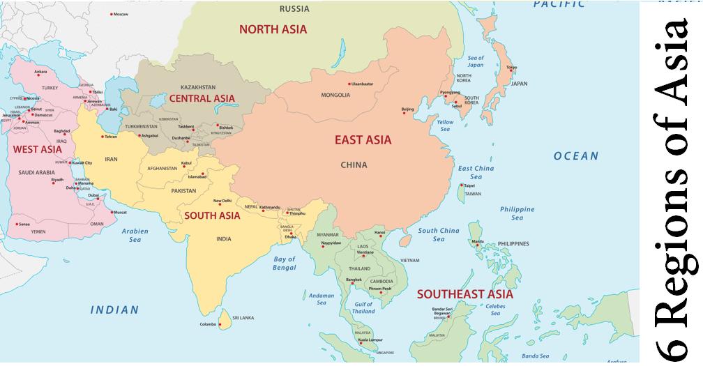6 Regions of Asia