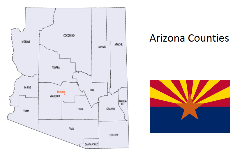 Map of Arizona Counties