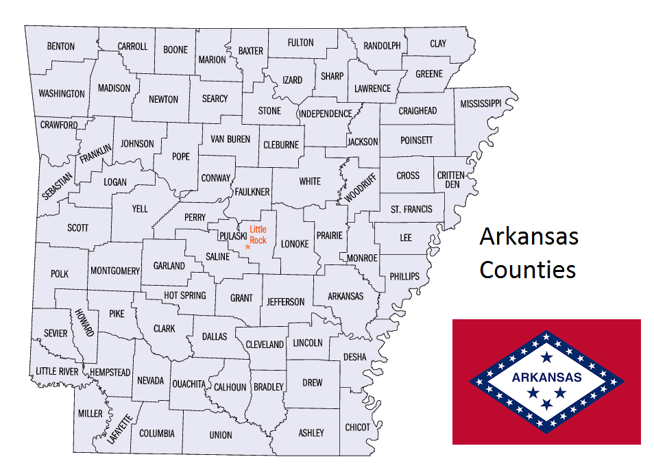 Map of Arkansas Counties
