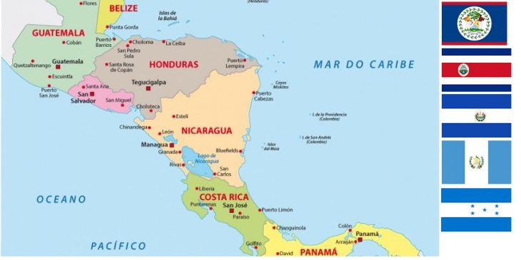Map of Central American Countries