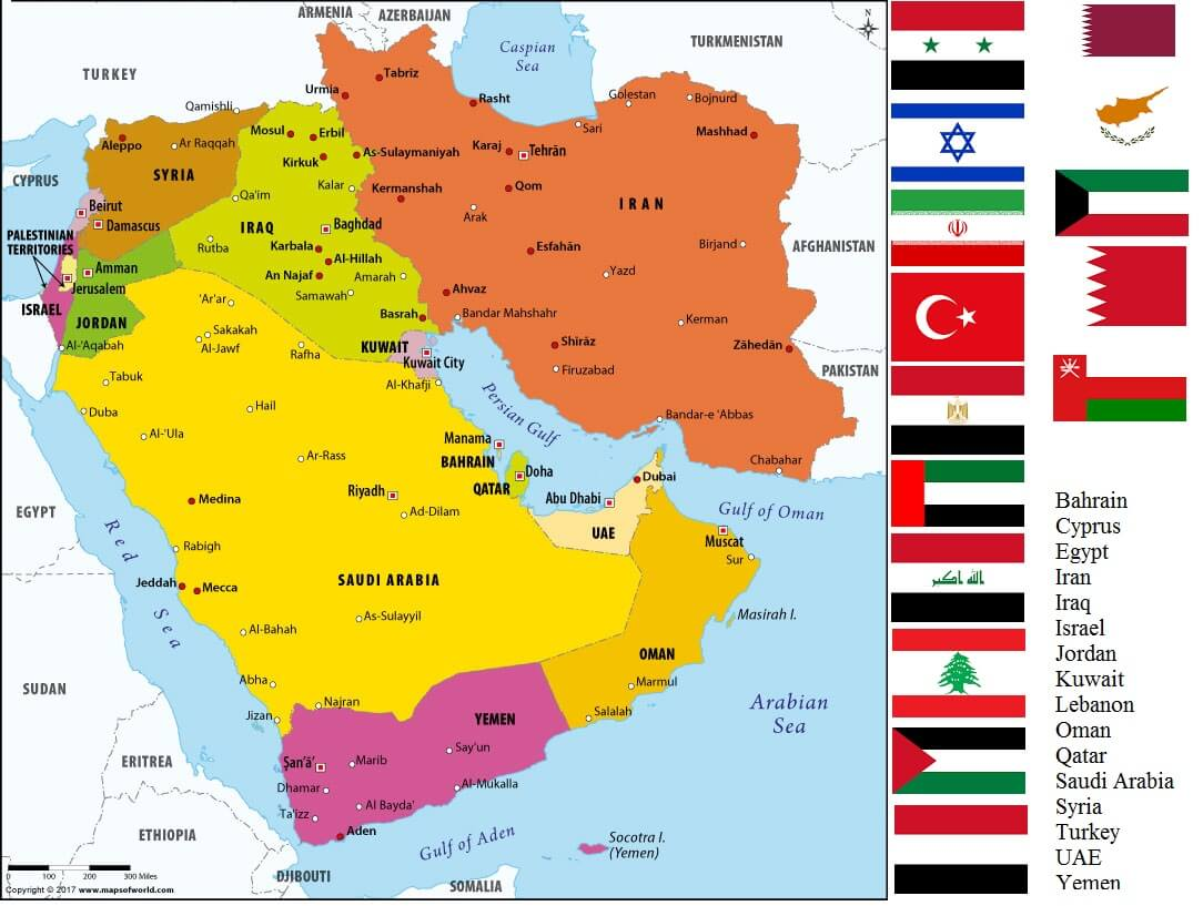 List of All Countries in Middle East – Countryaah.com