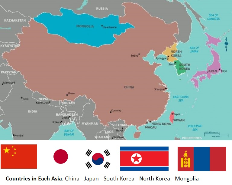 Map of Eastern Asian Countries