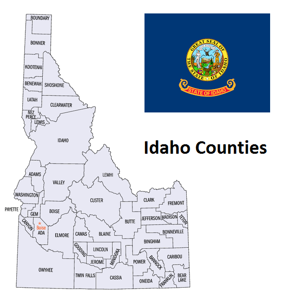 Map of Idaho Counties