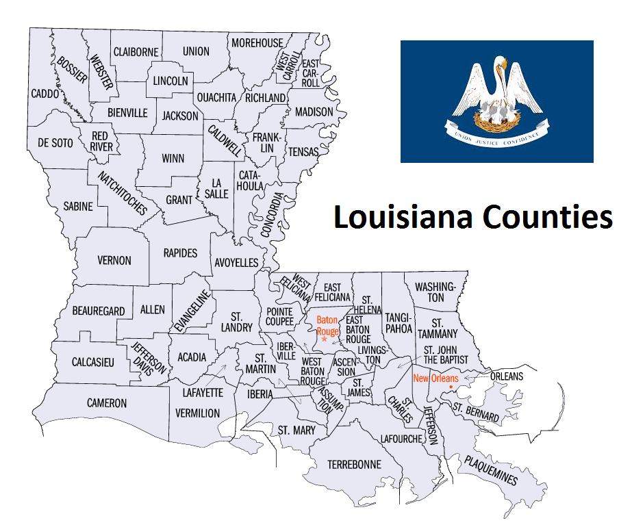 Map of Louisiana Counties