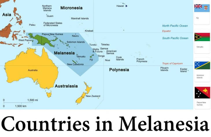 Map of Melanesia and Countries