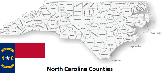 Map of North Carolina Counties