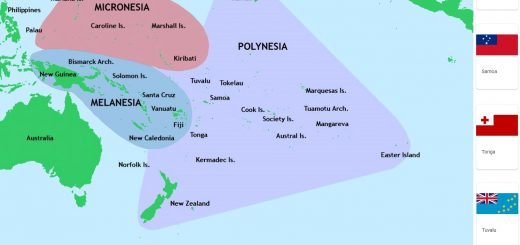 Map of Polynesia and Countries