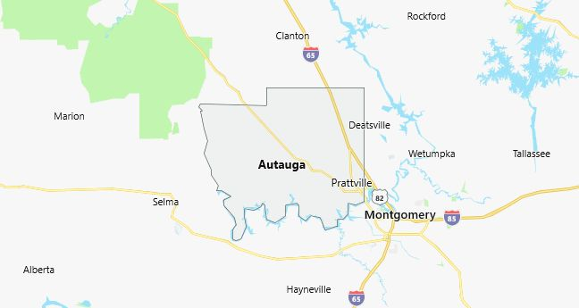 Map of Autauga County, AL