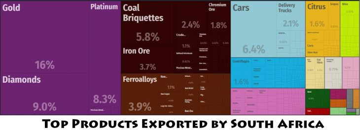 Top Products Exported by South Africa
