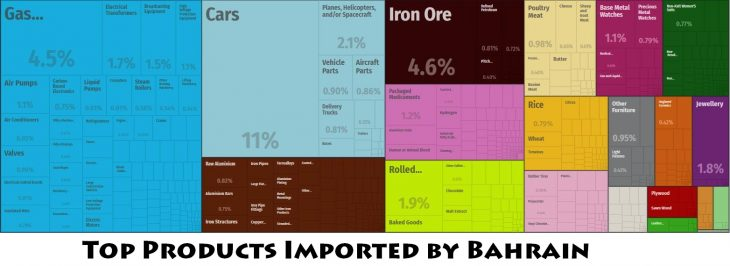 Top Products Imported by Bahrain
