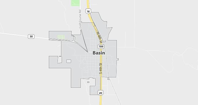 Map of Basin, WY