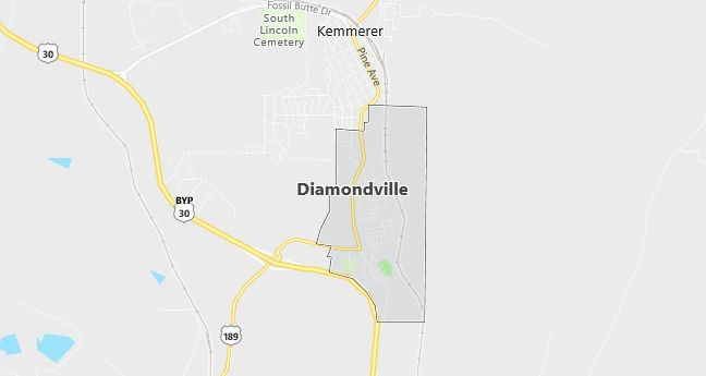 Map of Diamondville, WY