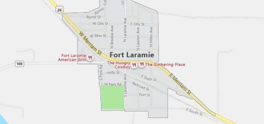 Map of Fort Laramie, WY
