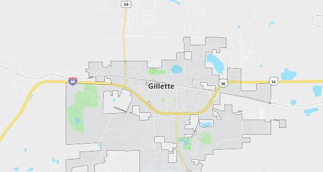 Map of Gillette, WY
