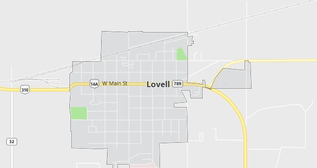 Map of Lovell, WY