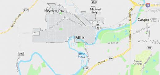 Map of Mills, WY