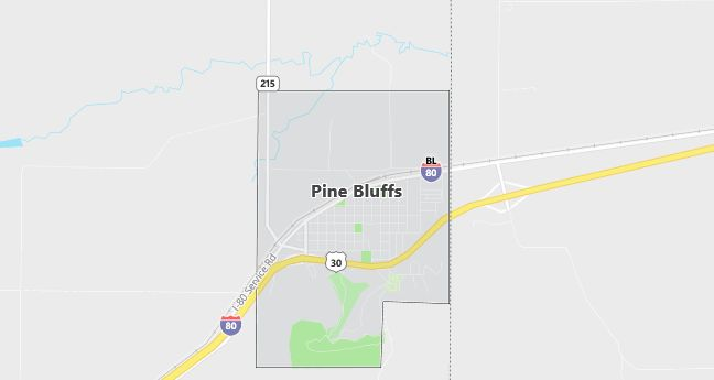 Map of Pine Bluffs, WY