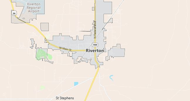 Map of Riverton, WY
