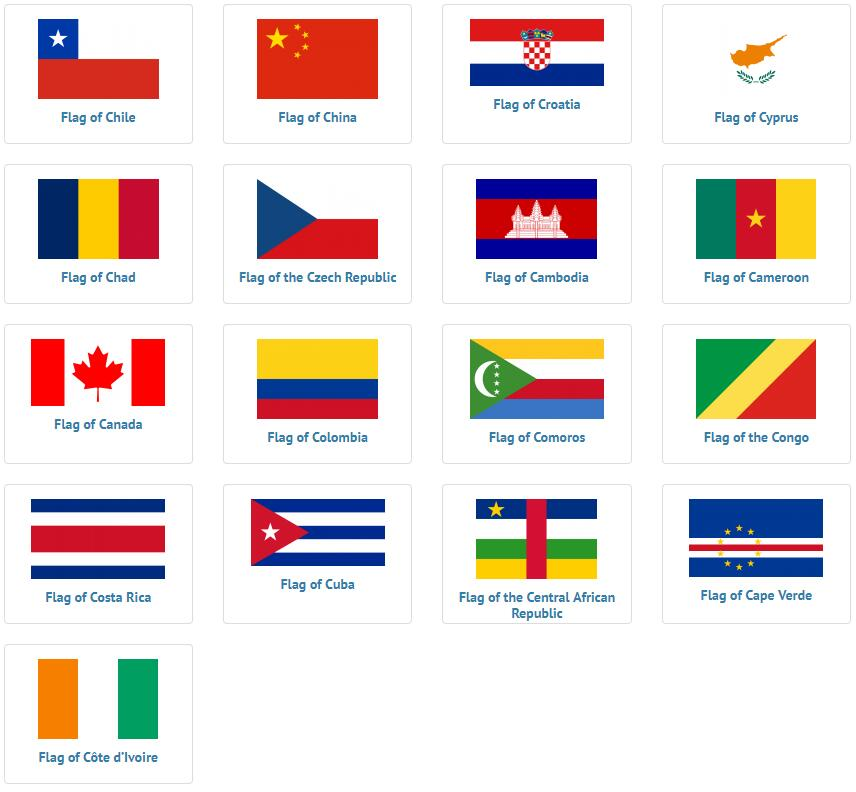 Flags of countries beginning with C