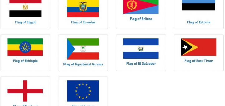 Flags of countries beginning with E