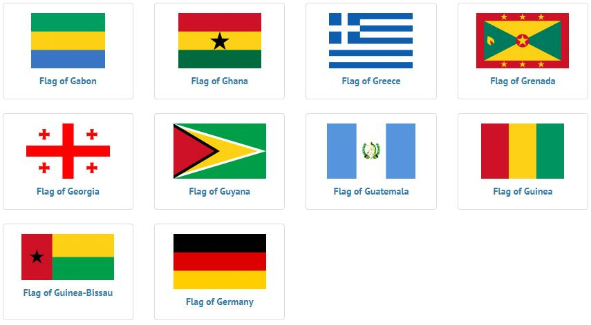 Flags of countries beginning with G