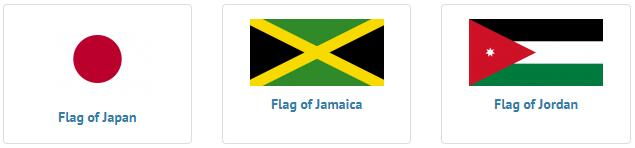 Flags of countries beginning with J