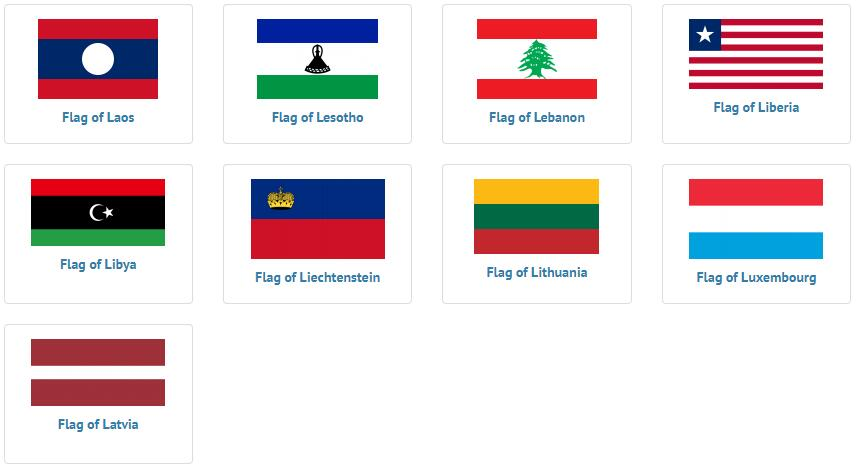 Flags of countries beginning with L