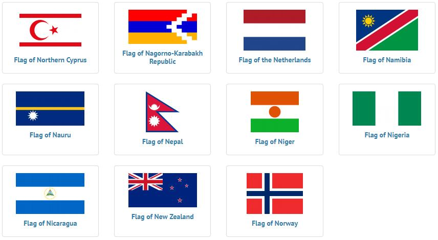 Flags of countries beginning with N