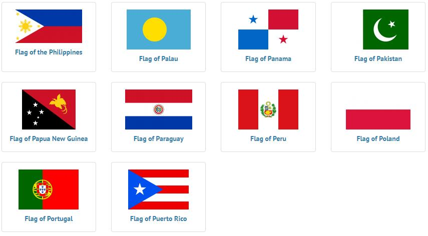 Flags of countries beginning with P