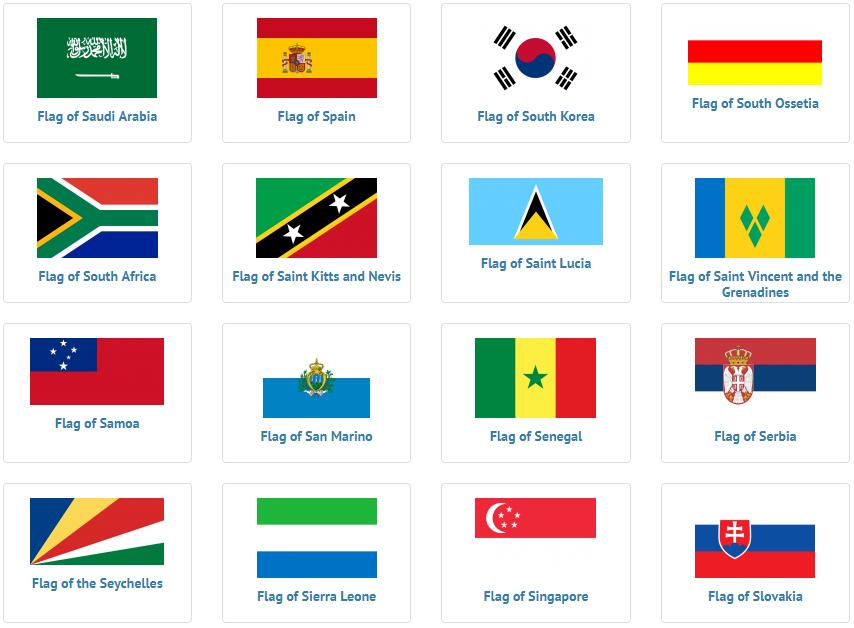 Flags of countries beginning with S